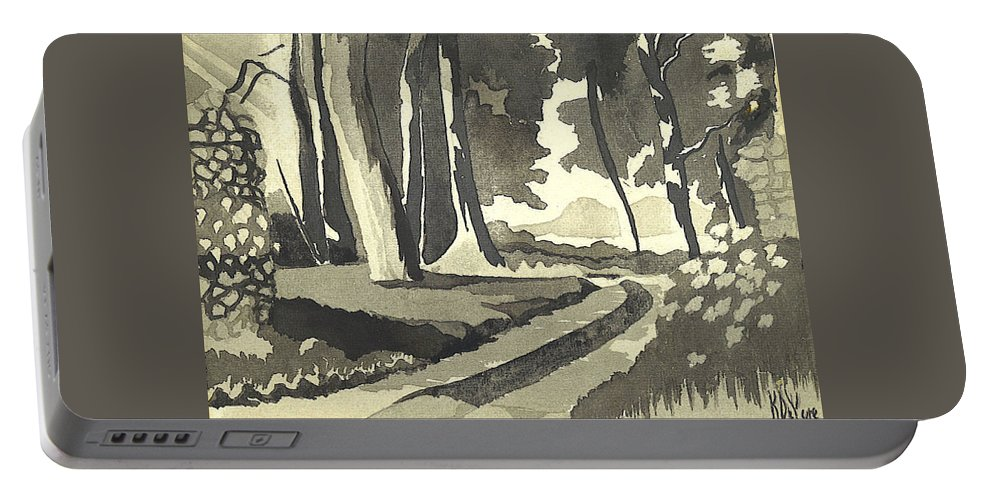 Rural Portable Battery Charger featuring the painting Country Lane In Evening Shadow by Kip DeVore