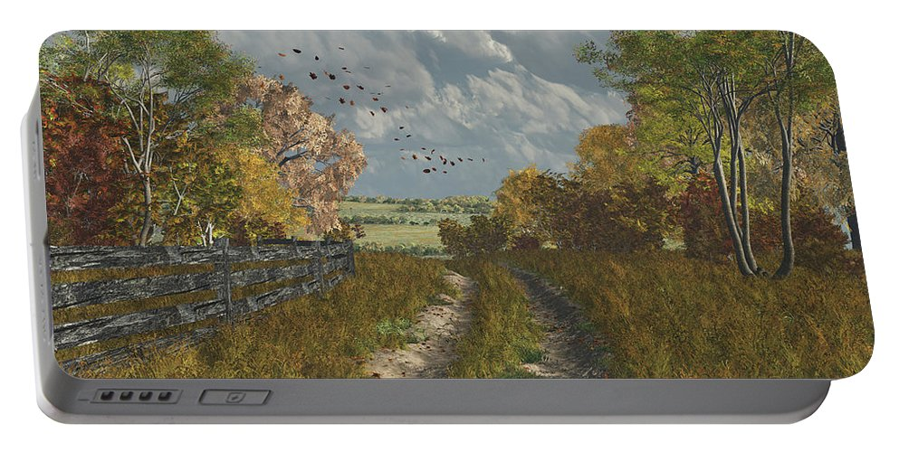 Fall Portable Battery Charger featuring the digital art Country Lane In Fall by Jayne Wilson