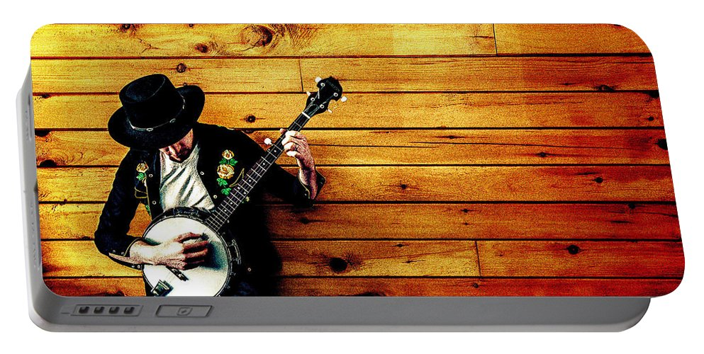 Music - Musical Instrument - Singer - Person - Decoration - Country Music - Hat - Strings Portable Battery Charger featuring the digital art Country Music by Lyriel Lyra