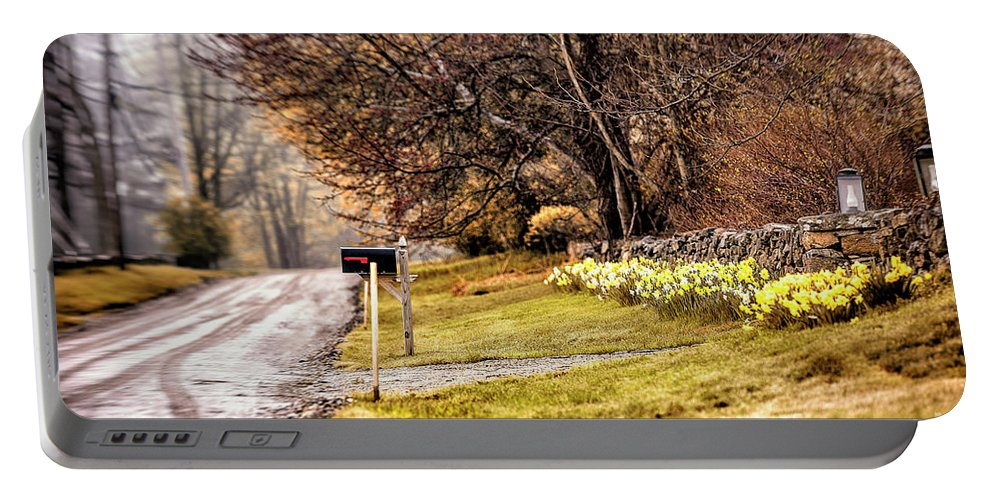 Lake Waramaug Portable Battery Charger featuring the photograph Country Road by Grant Dupill