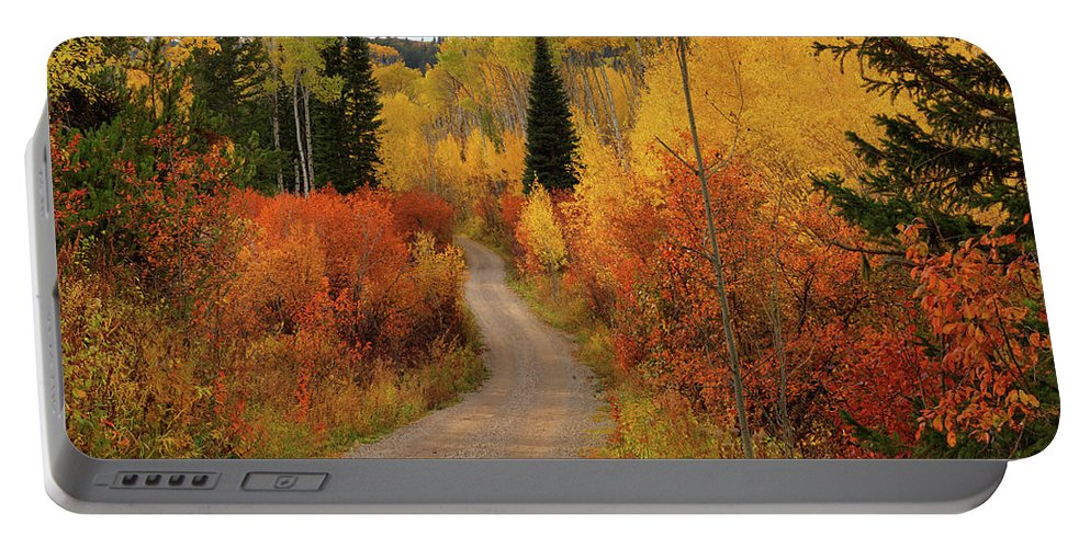 Idaho Scenics Portable Battery Charger featuring the photograph Country Road In Autumn by Leland D Howard