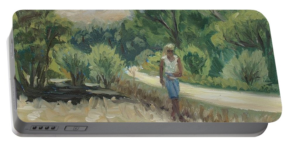 Country Portable Battery Charger featuring the painting Country Road In Spain by Elena Sokolova