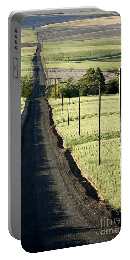 Roadway Portable Battery Charger featuring the photograph Country Road, Wheat Fields by Inga Spence