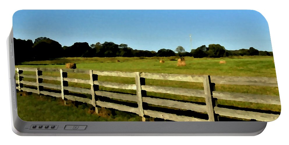 Country Portable Battery Charger featuring the photograph Country Scene With Field And Hay Bales by Michael Potts
