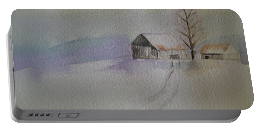 Barn Snow Winter Tree Landscape Cold Portable Battery Charger featuring the painting Country Snow by Patricia Caldwell