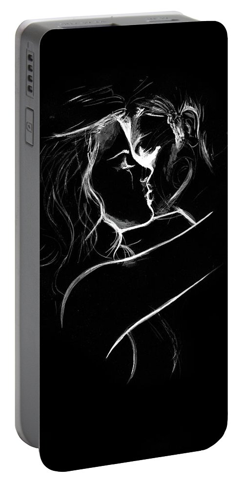 Couple Portable Battery Charger featuring the painting Couples Embrace by Fliss Ellis