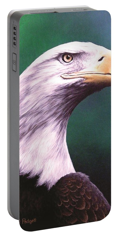 Eagle Portable Battery Charger featuring the painting Courage by Anthony J Padgett