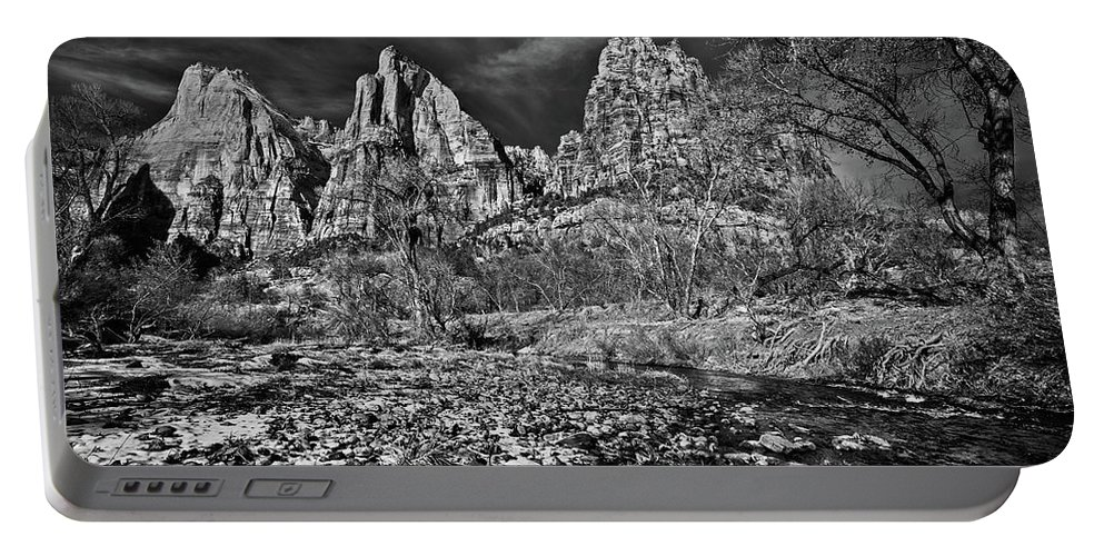 Art Portable Battery Charger featuring the photograph Court Of The Patriarchs II - Bw by Christopher Holmes