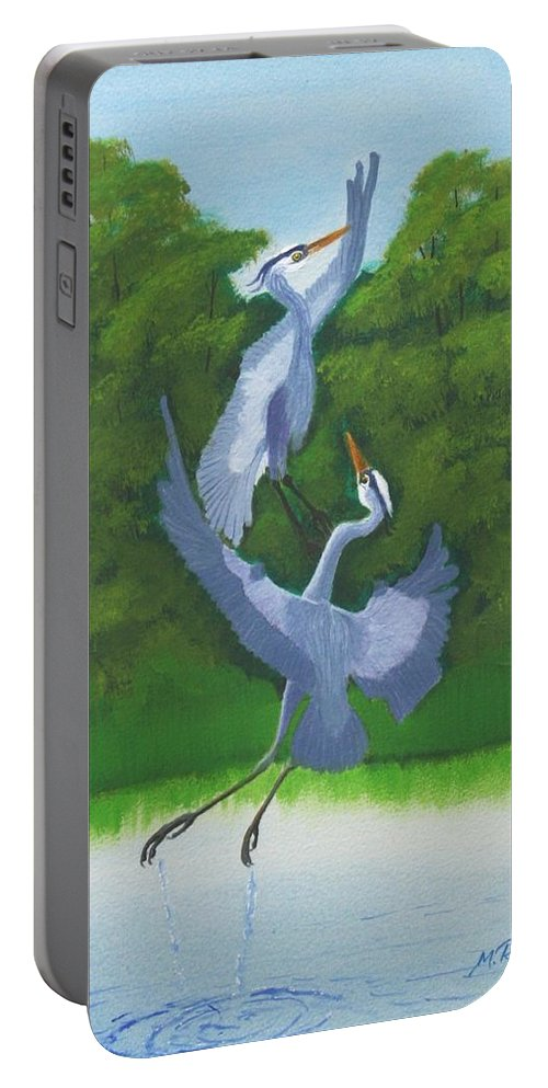 Great Blue Herons Portable Battery Charger featuring the painting Courtship Dance by Mike Robles