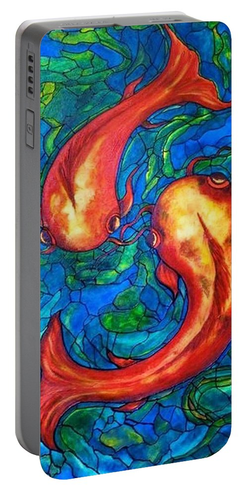 Original Painting Portable Battery Charger featuring the painting Courtship by Rae Chichilnitsky