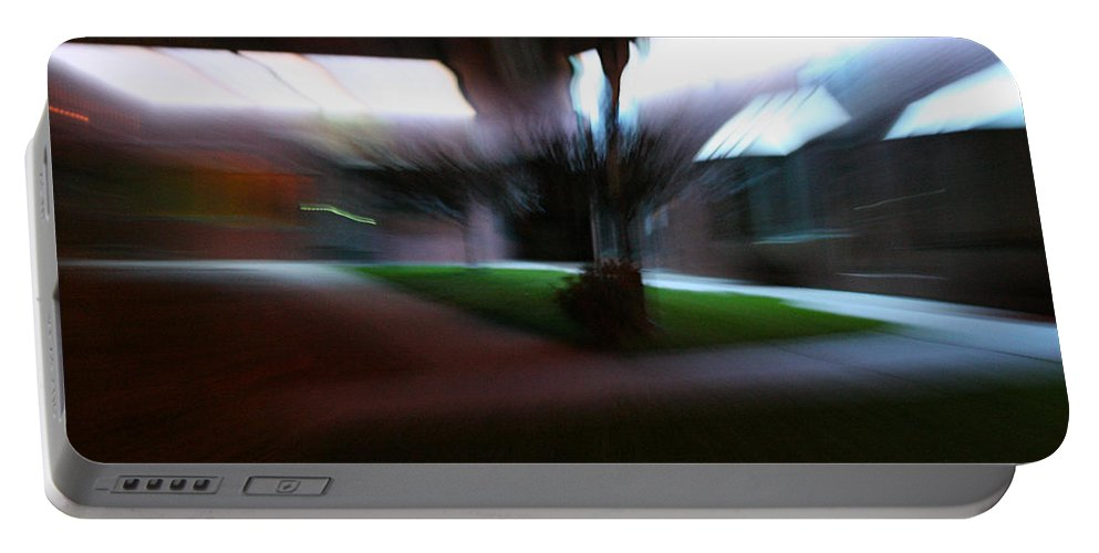 Courtyard Portable Battery Charger featuring the photograph Courtyard at Night by Ric Bascobert