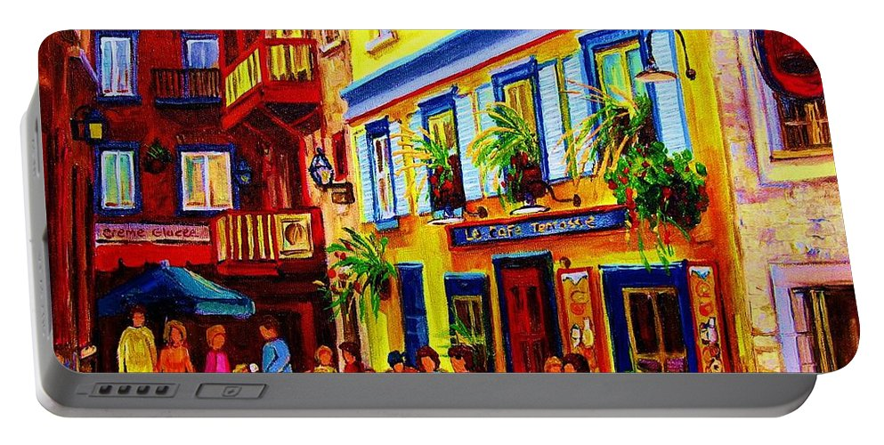 Courtyard Cafes Portable Battery Charger featuring the painting Courtyard Cafes by Carole Spandau