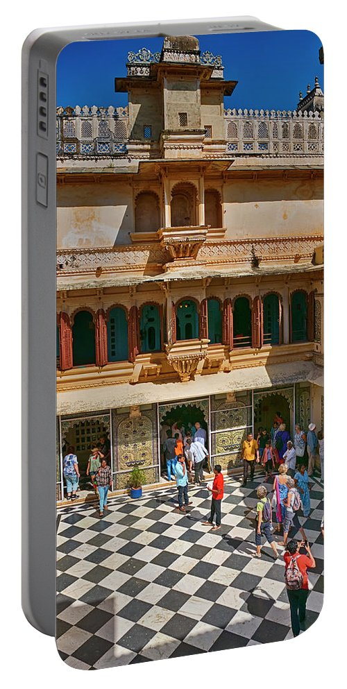 City Palace Portable Battery Charger featuring the photograph Courtyard, City Palace, Udaipur by Doug Matthews