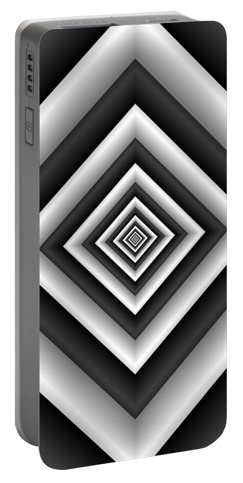 Abstract Portable Battery Charger featuring the digital art Covariance 6 Modern Geometric Black White by TJ Art