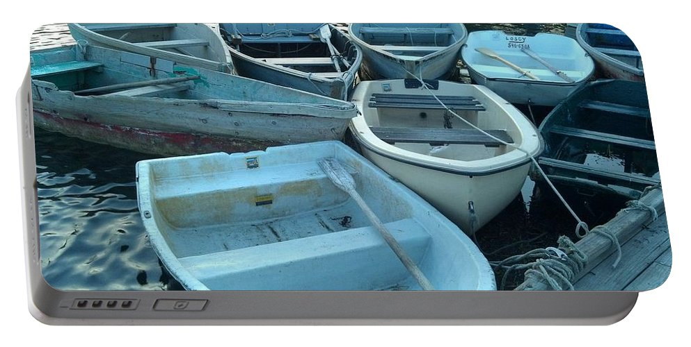 Numerous Small Skiffs Portable Battery Charger featuring the photograph Cove Skiffs by Harriet Harding