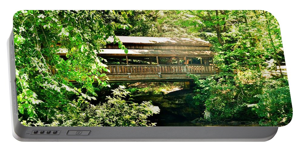 Covered Bridge At Lanterman's Mill Portable Battery Charger featuring the photograph Covered Bridge At Lanterman's Mill by Lisa Wooten