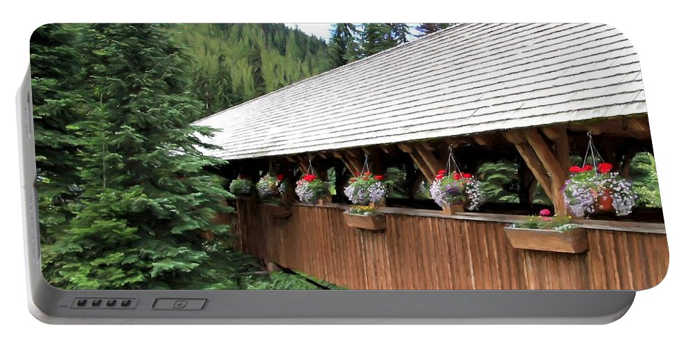 Bridge Portable Battery Charger featuring the photograph Covered Bridge by Kathy Bassett