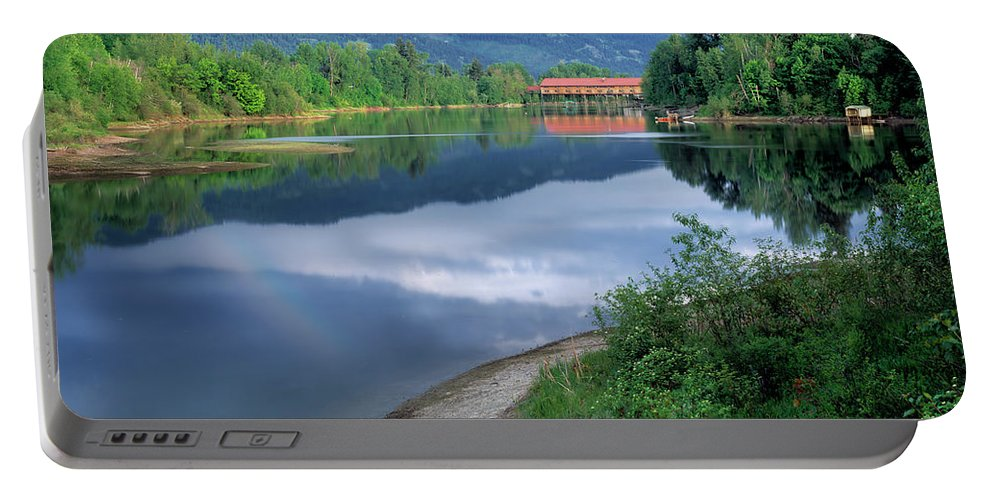 Idaho Scenics Portable Battery Charger featuring the photograph Covered Bridge by Leland D Howard