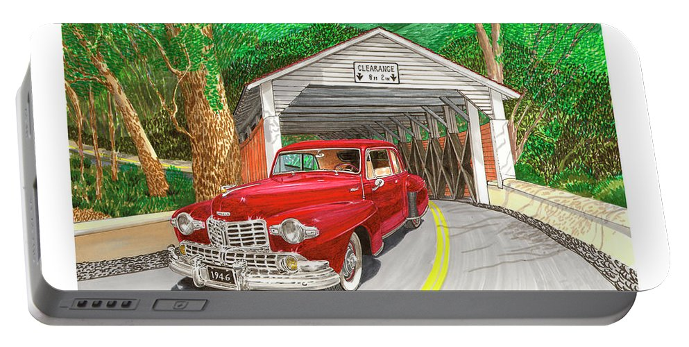 Framed Canvas Prints Of 1946 Lincoln Continental And Vintage Covered Bridge. Framed Prints Of Automotive Art. Framed Prints Of Rural Americana Transportation Art. Framed Classic Lincoln Art Prints. Portable Battery Charger featuring the painting Covered Bridge Lincoln by Jack Pumphrey