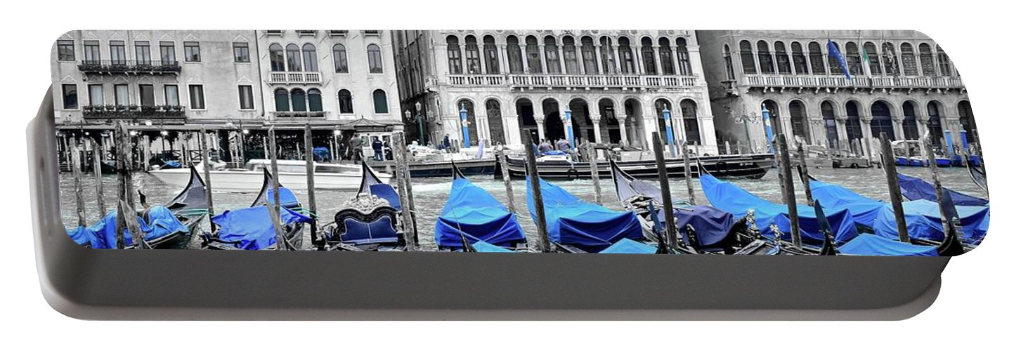 Blue Portable Battery Charger featuring the photograph Covered Gondolas In Blue by Frozen in Time Fine Art Photography