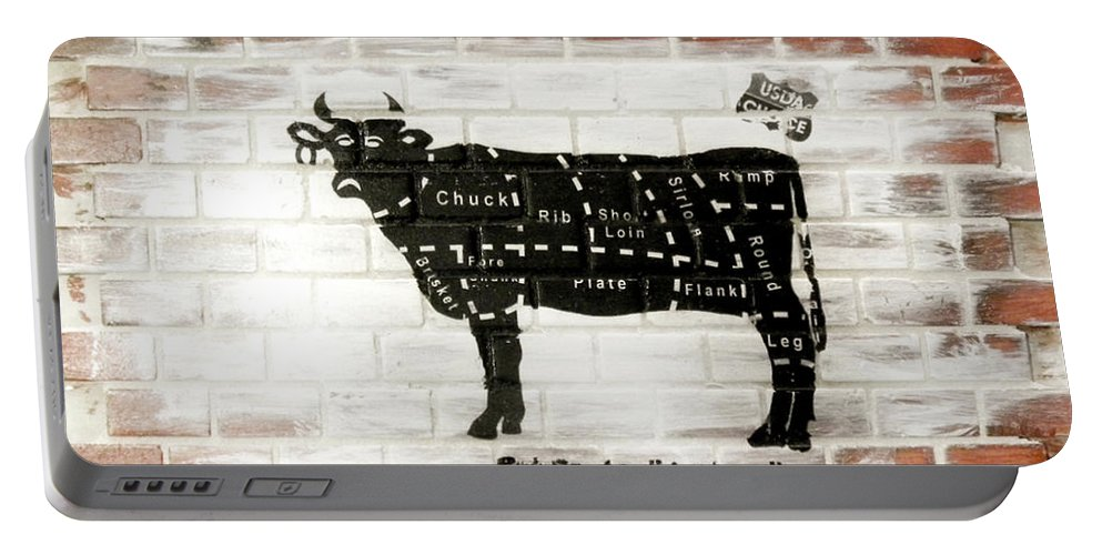 Brick Portable Battery Charger featuring the mixed media Cow Cuts by Herman Cerrato