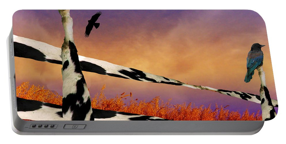 Cow Portable Battery Charger featuring the digital art Cow Fence by Katherine Pearson