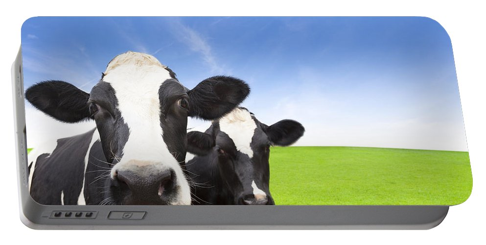 Portable Battery Charger featuring the drawing Cow On Green Grass Field by Li Mei
