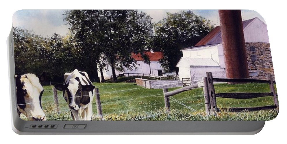Cows Portable Battery Charger featuring the painting Cow Spotting by Denny Bond
