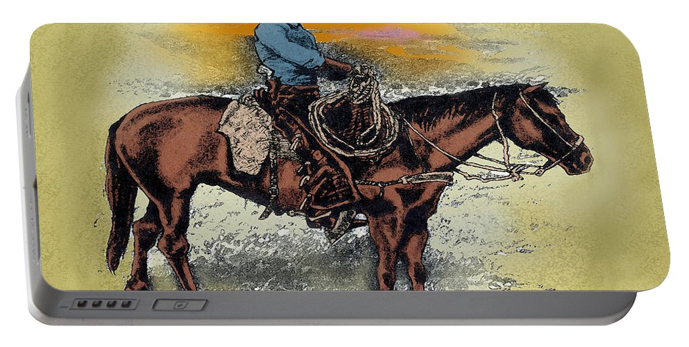 Cowboy Portable Battery Charger featuring the painting Cowboy N Sunset by Kevin Middleton