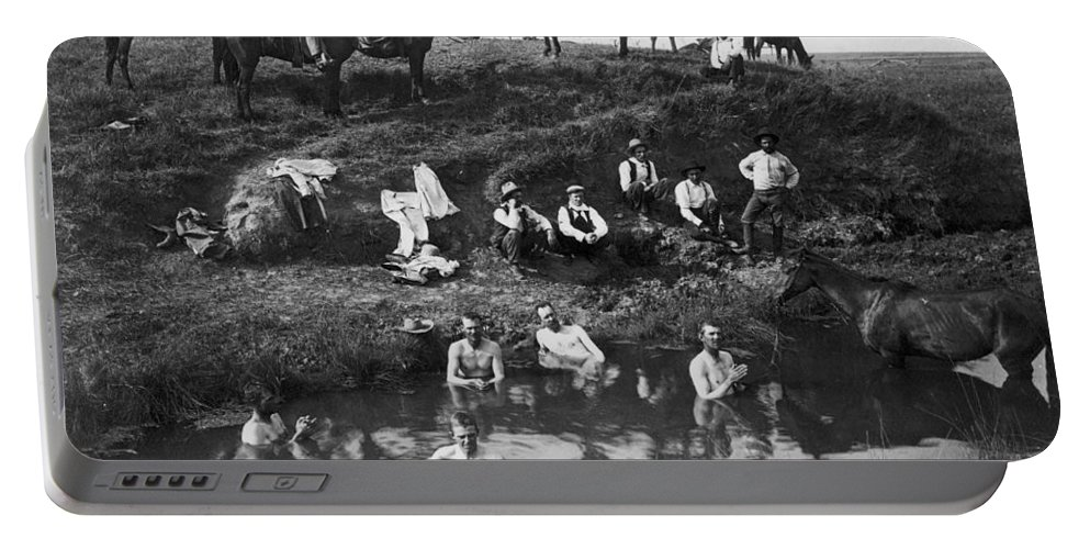 1890 Portable Battery Charger featuring the photograph Cowboys Bathing by Granger