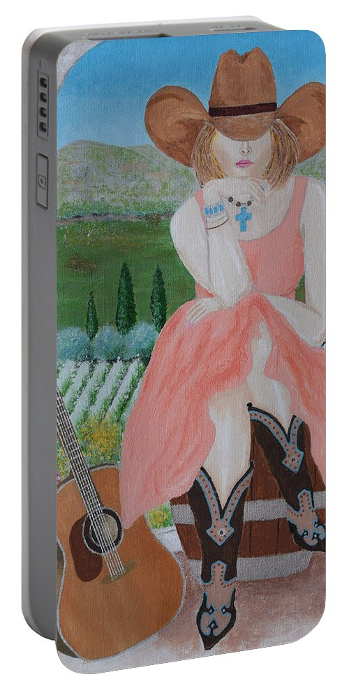 Cowgirl Portable Battery Charger featuring the painting Cowgirl Attitude by Belinda Nagy