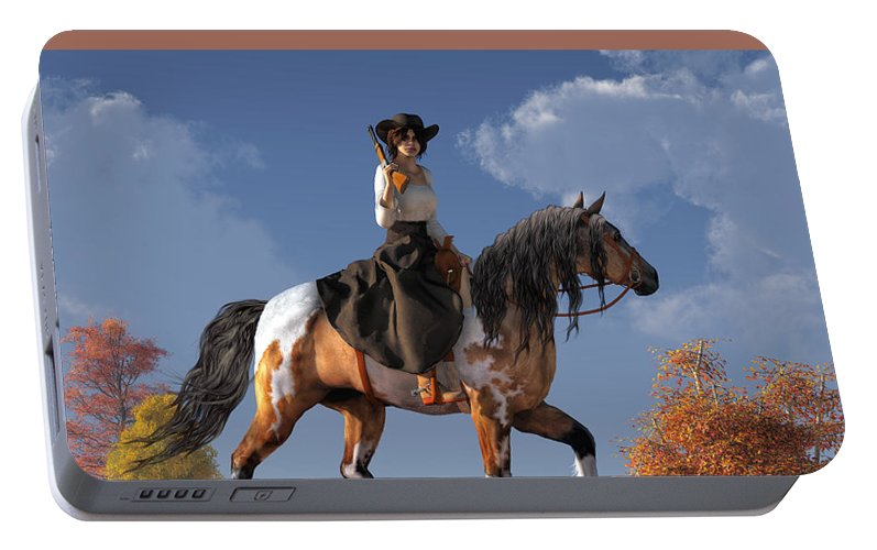 Cowgirl Portable Battery Charger featuring the digital art Cowgirl by Daniel Eskridge