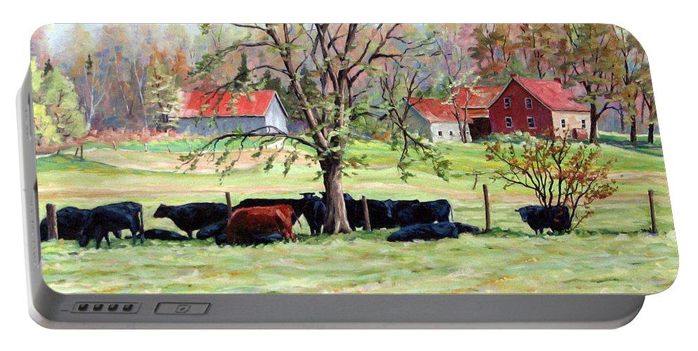 Cows Portable Battery Charger featuring the painting Cows Grazing In One Field by Richard T Pranke