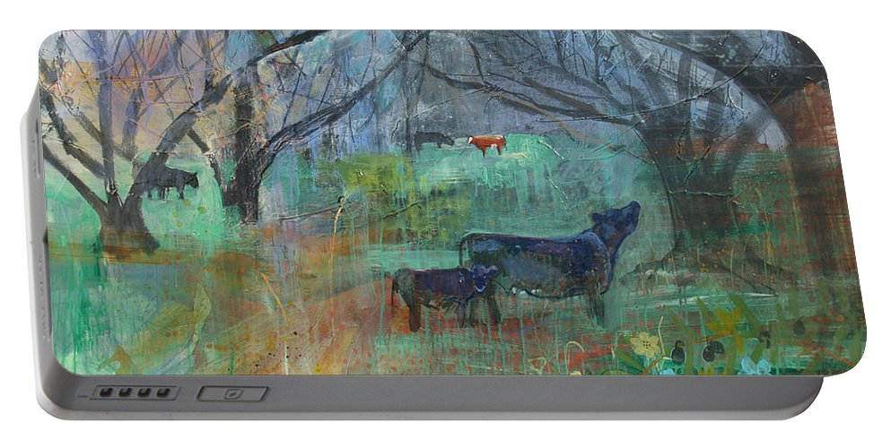 Cows Portable Battery Charger featuring the painting Cows In The Olive Grove by Robin Maria Pedrero