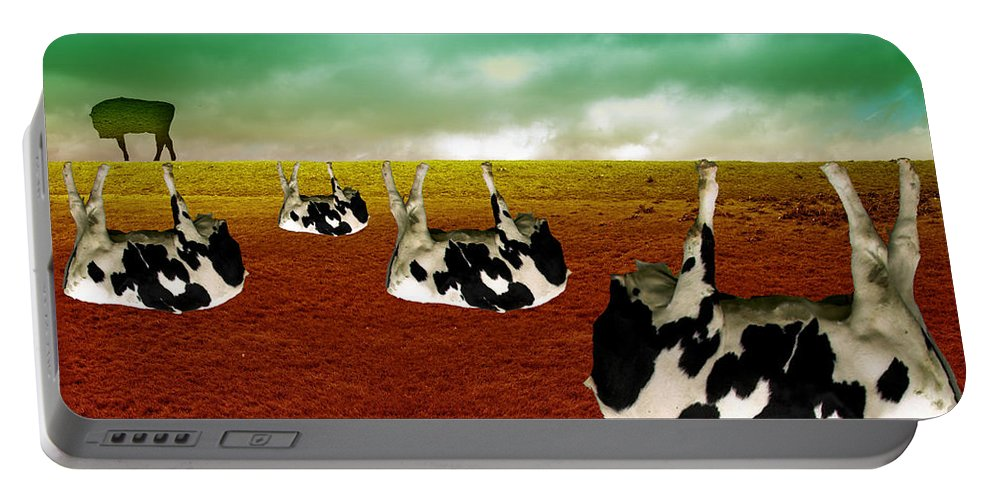 Cows Portable Battery Charger featuring the digital art Cows by Katherine Pearson