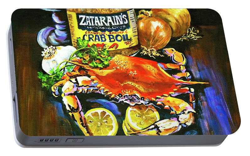 New Orleans Portable Battery Charger featuring the painting Crab Fixin's by Dianne Parks