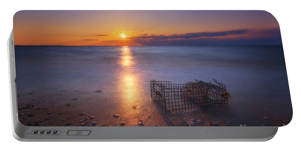 Sandy Hook Portable Battery Charger featuring the photograph Crab Trap Sunset Le by Michael Ver Sprill