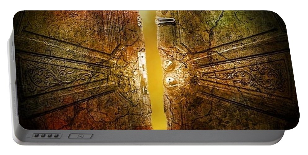 Doors Portable Battery Charger featuring the digital art Crack Of Dawn by Ellen Cannon