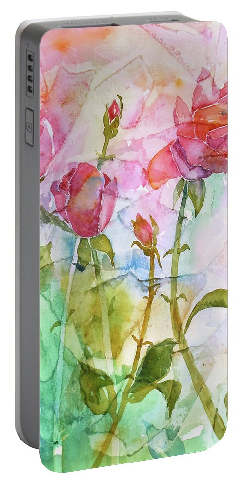 Rose Portable Battery Charger featuring the painting Cracklin' Rose by Renee Chastant