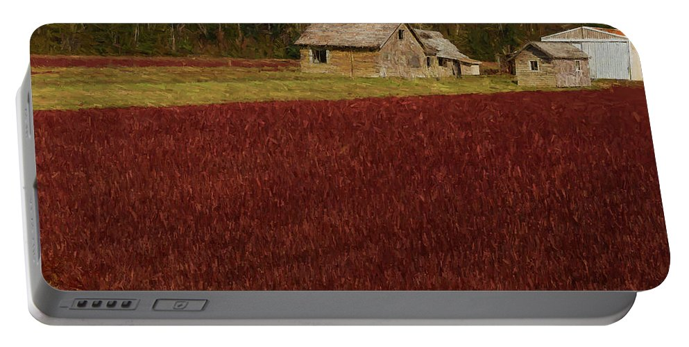Cranberry Portable Battery Charger featuring the painting Cranberry Bog by Mike Penney