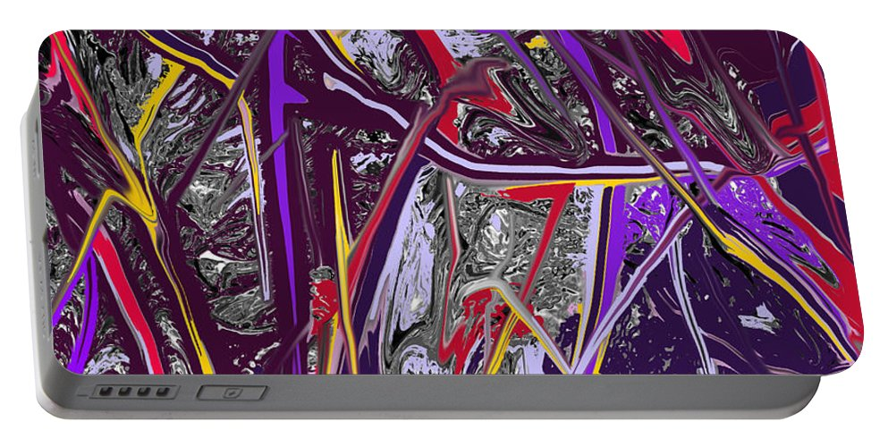 Abstract Portable Battery Charger featuring the digital art Crash by Ian MacDonald