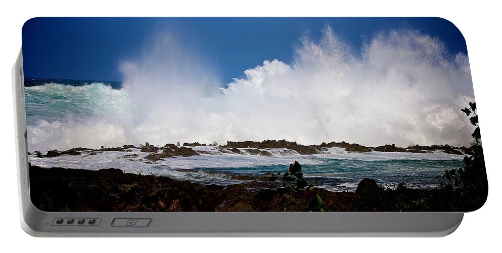 Waves Portable Battery Charger featuring the photograph Crash by Jackie Dorr