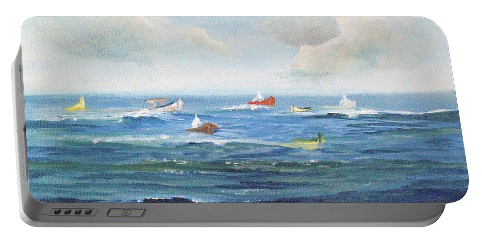 Impressionism Portable Battery Charger featuring the painting Crashboat Beach by Alicia Maury