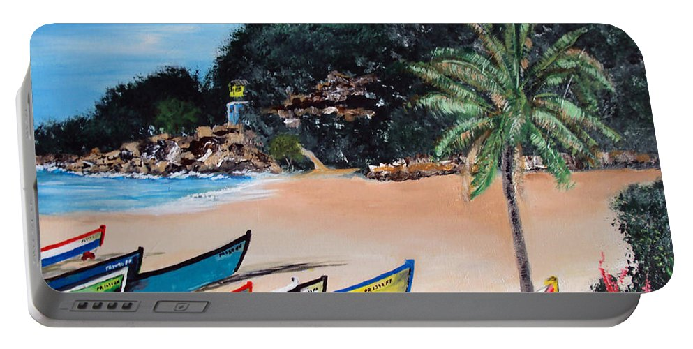 Aguadilla Portable Battery Charger featuring the painting Crashboat Beach I by Luis F Rodriguez