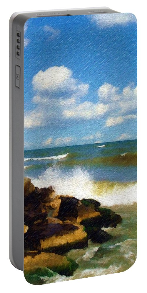 Seascape Portable Battery Charger featuring the photograph Crashing Into Shore by Sandy MacGowan