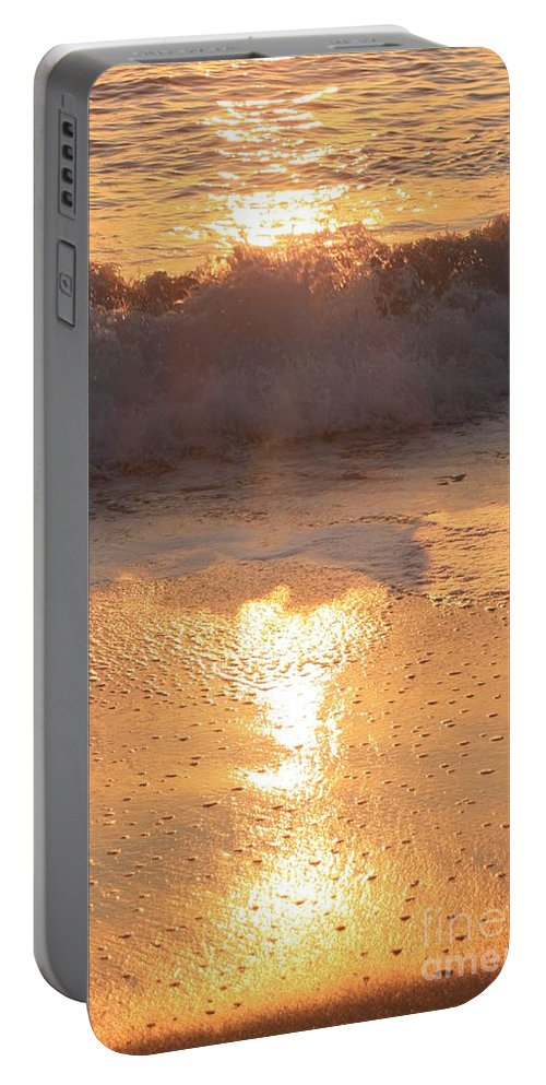 Waves Portable Battery Charger featuring the photograph Crashing Wave At Sunrise by Nadine Rippelmeyer