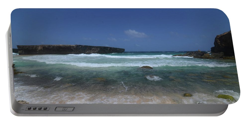 Boca Keto Portable Battery Charger featuring the photograph Crashing Waves Rolling Ashore On The Island Of Aruba by DejaVu Designs
