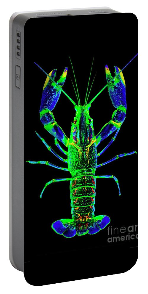 Poster Digital Art Greeting Cards Postcard Paintings Drawings Design Collage Assemblage Vivid Colors Bright Crawfish Langusta Langosta American Lobster Sea Aquarium Aqua Tropical Seafood Portable Battery Charger featuring the mixed media Crawfish In The Dark - Bluegreen by Baptiste Posters