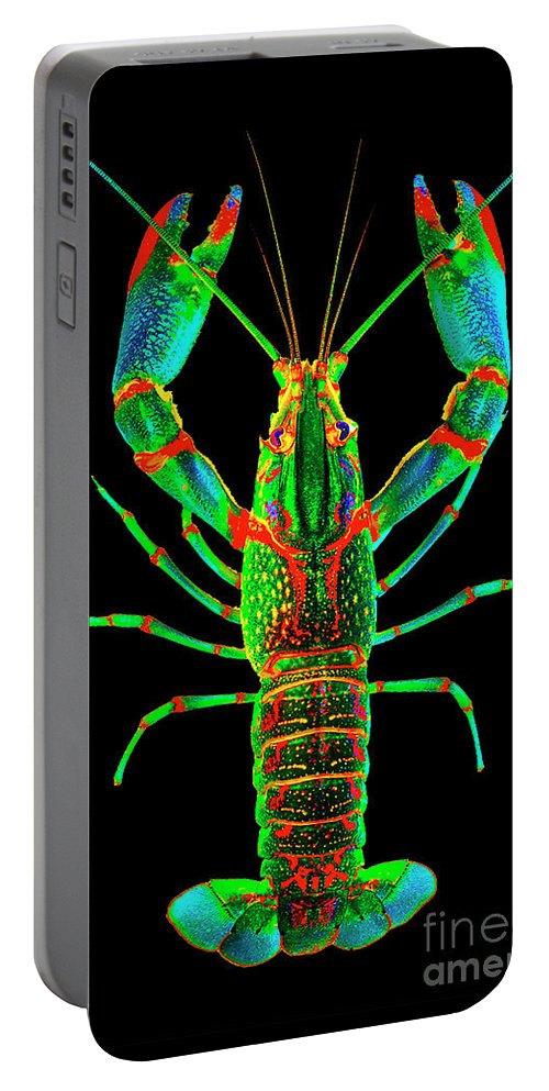 Poster Digital Art Greeting Cards Postcard Paintings Drawings Design Collage Assemblage Vivid Colors Bright Crawfish Langusta Langosta American Lobster Sea Aquarium Aqua Tropical Seafood Portable Battery Charger featuring the mixed media Crawfish In The Dark - Orivibsat by Baptiste Posters
