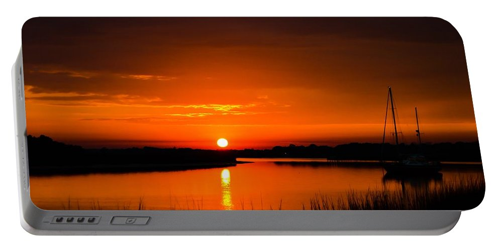 Sunset Portable Battery Charger featuring the photograph Crazy Beautiful by Angela Sherrer